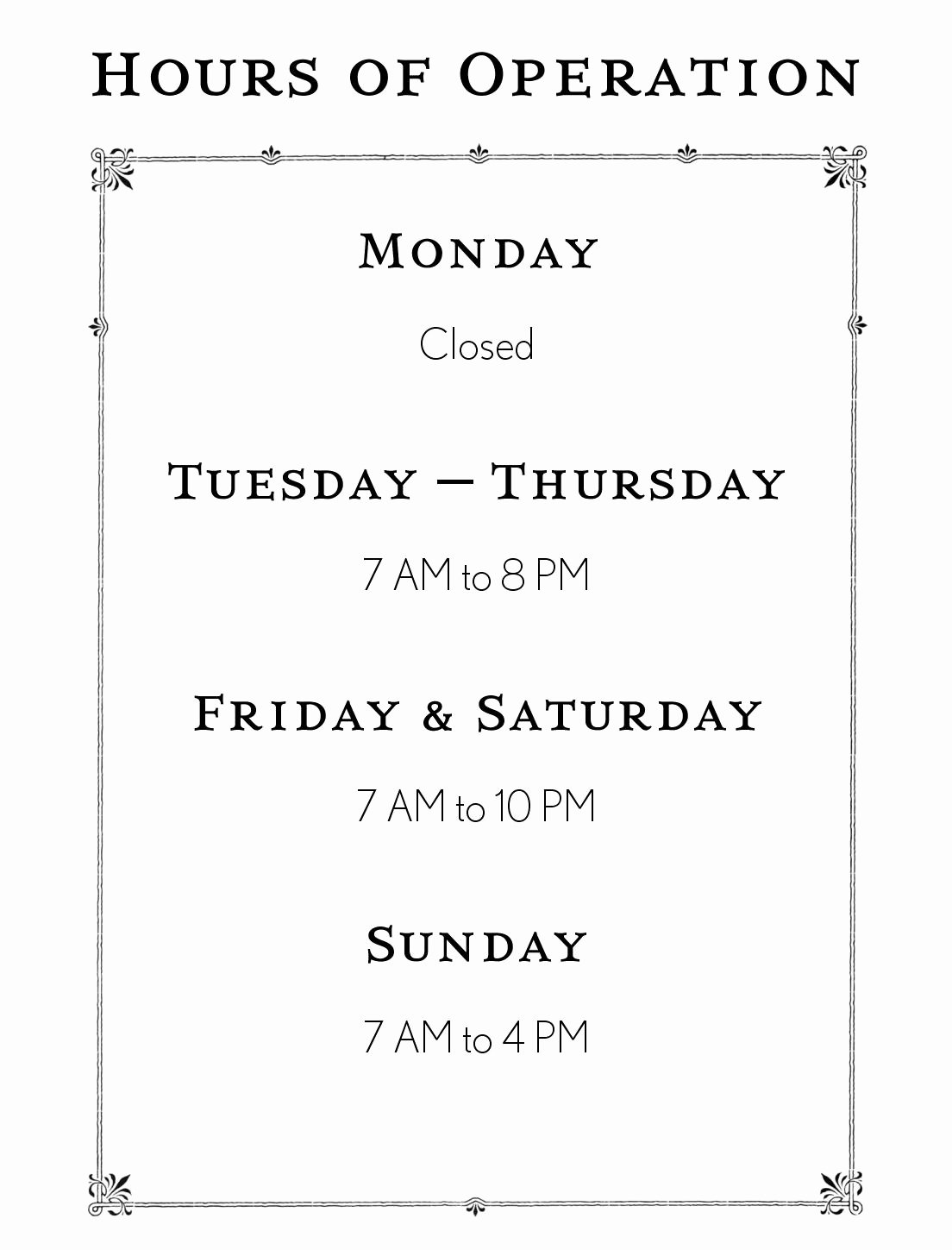 Store Hours Sign Template Unique Hours Operation Template