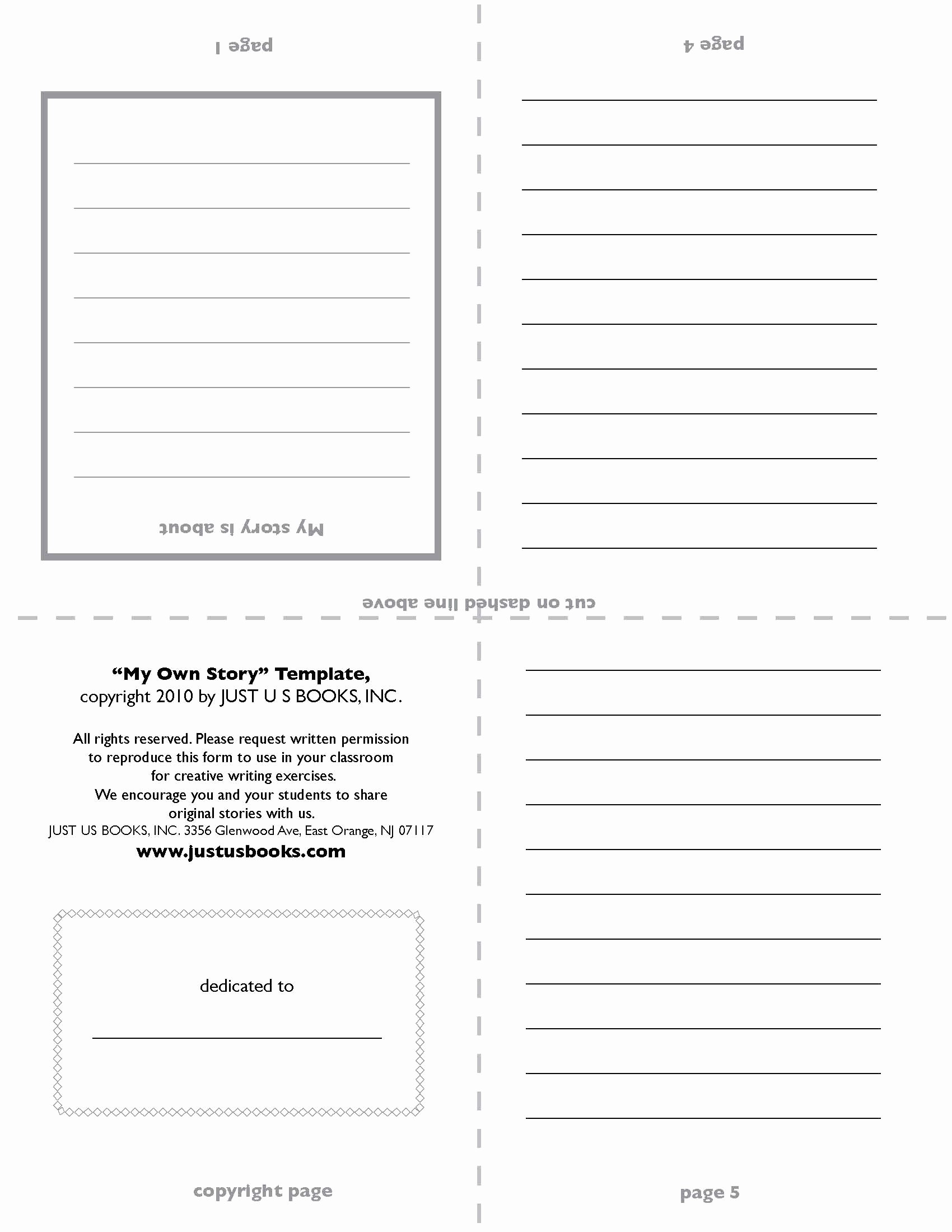 Story Book Template New My Own Story Template Side One