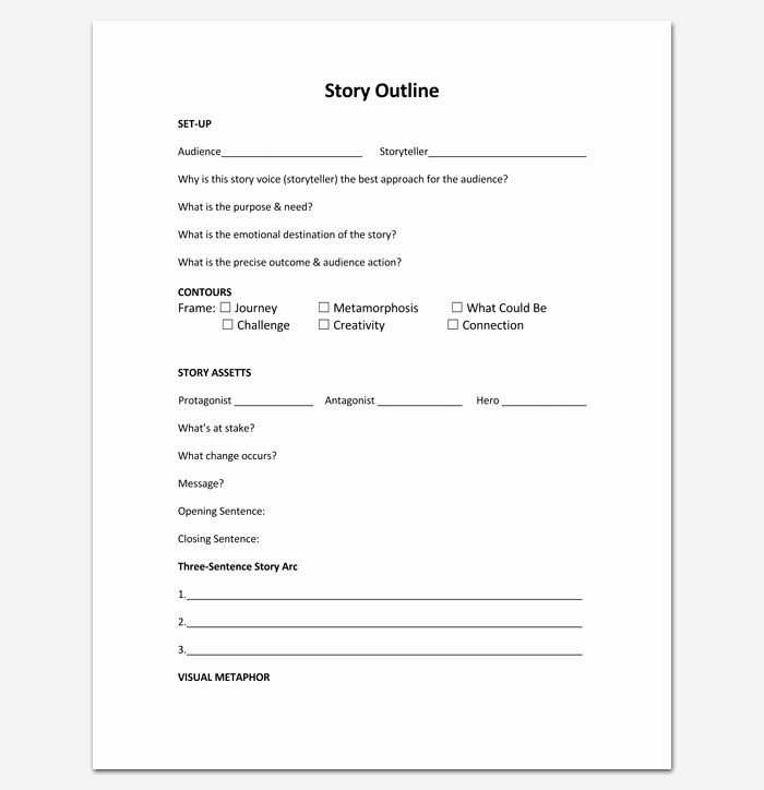 Story Book Template New Story Outline Template Pdf format