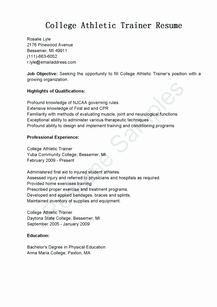 Student athlete Resume Example Beautiful Resume for Trainer Position