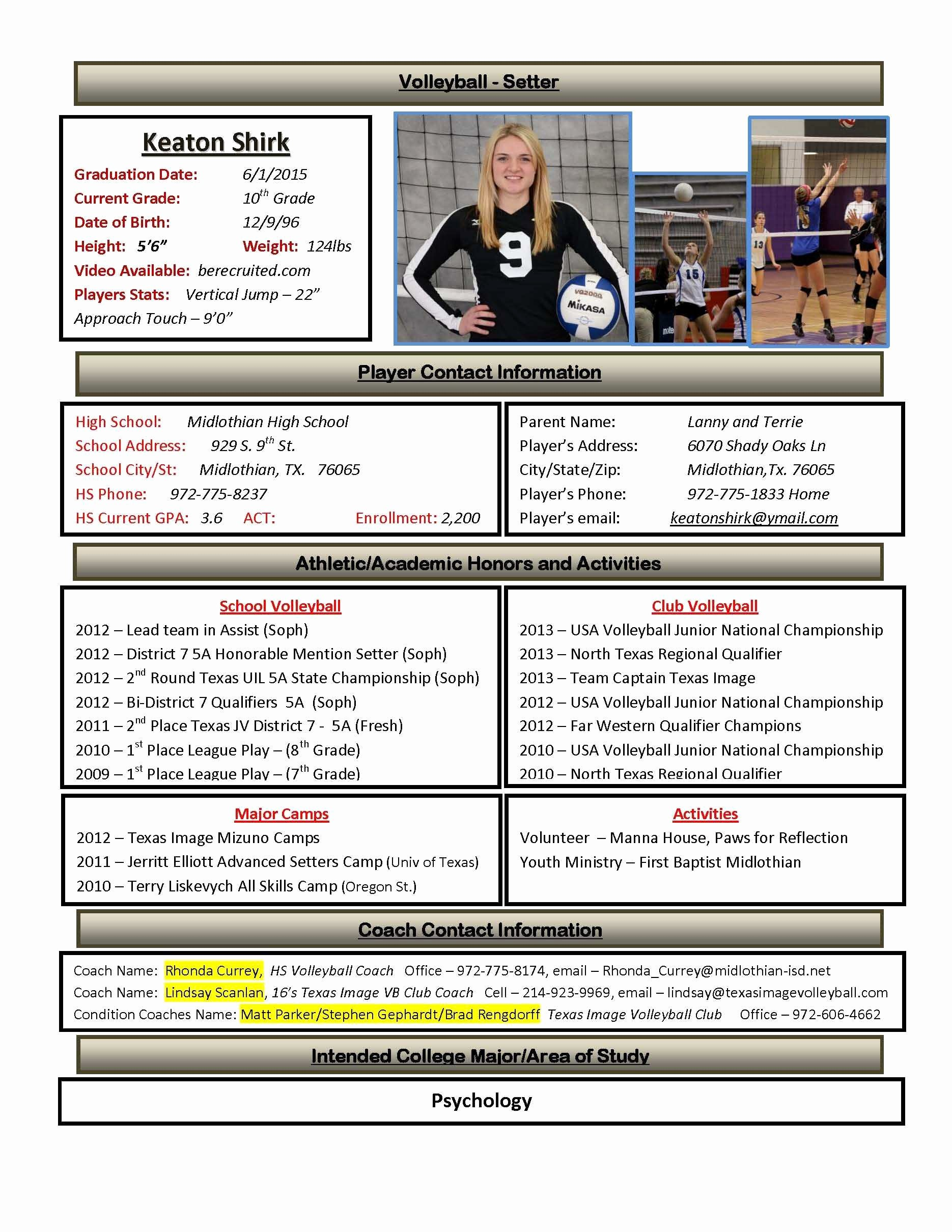 Student athlete Resume Example Best Of 30 Basic Student athlete Resume Jv O – Resume Samples