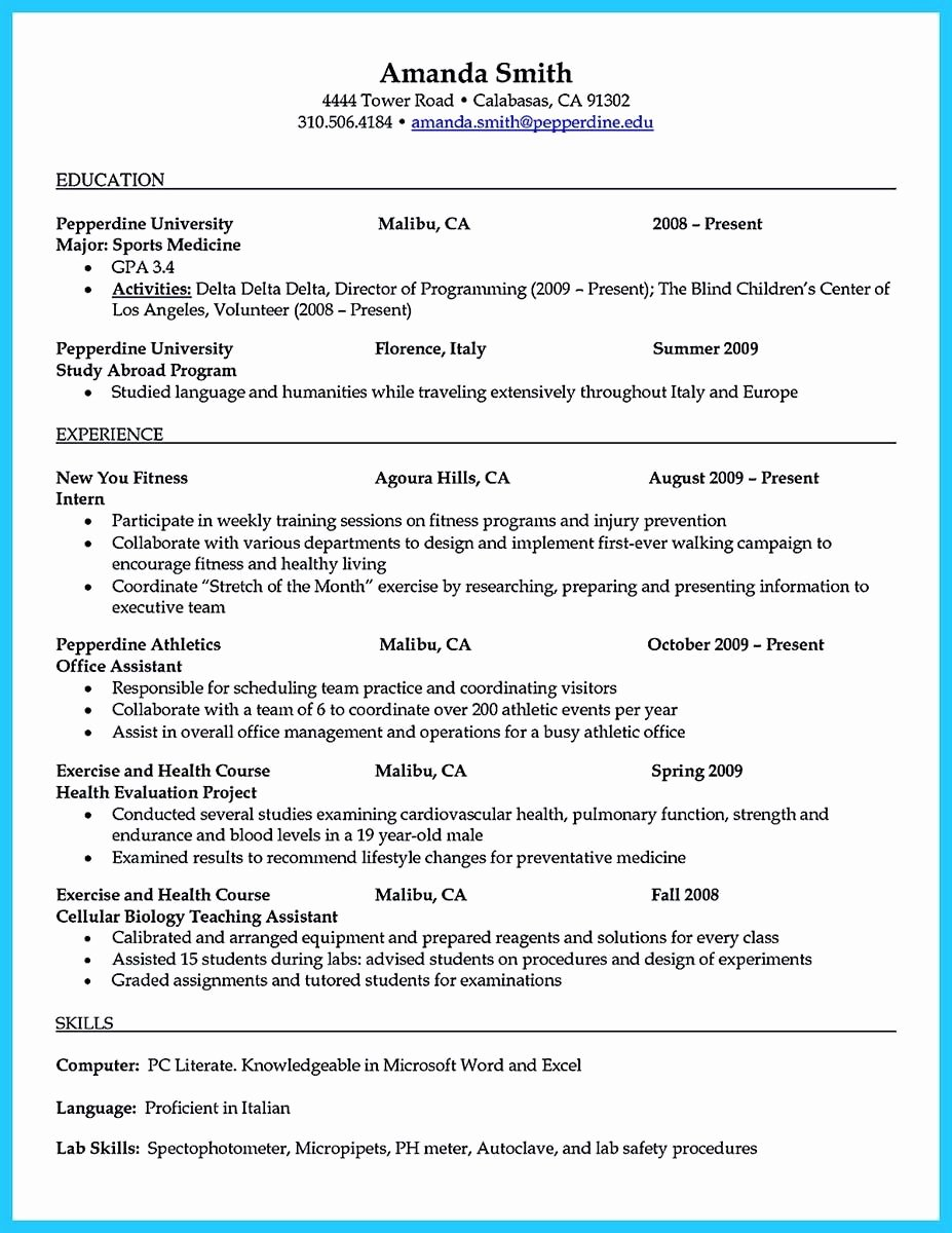 Student athlete Resume Example Elegant athletic Trainer Resume Sample
