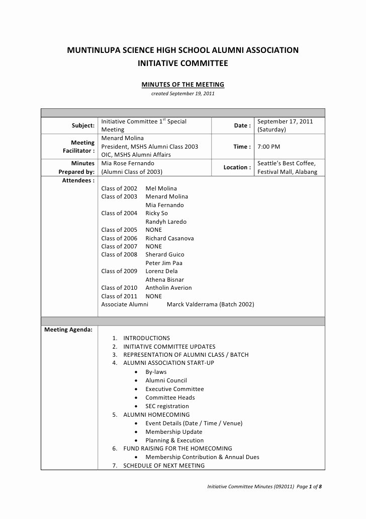 Student Council Minutes Template Best Of Mshs Aa Minutes Of the Meeting