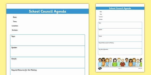 Student Council Minutes Template Fresh School Council Meeting Agenda Template