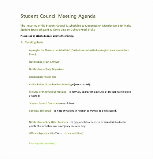 Student Council Minutes Template Lovely Sample Agenda Template 41 Download Free Documents In