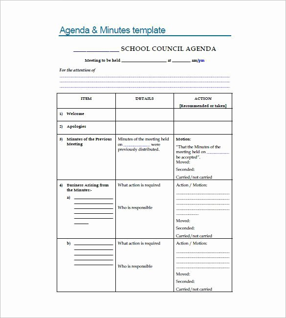 Student Council Minutes Template Unique Meeting Minutes format