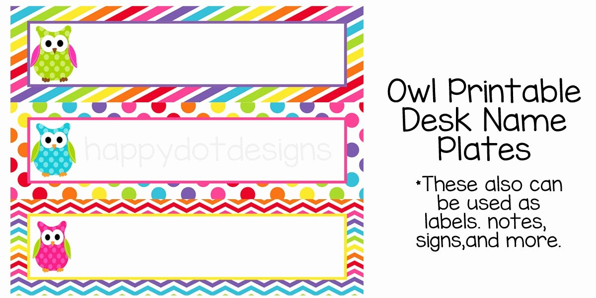 Student Desk Name Plates Templates Awesome Printable Rainbow Owl Desk Name Plates Name Cards for