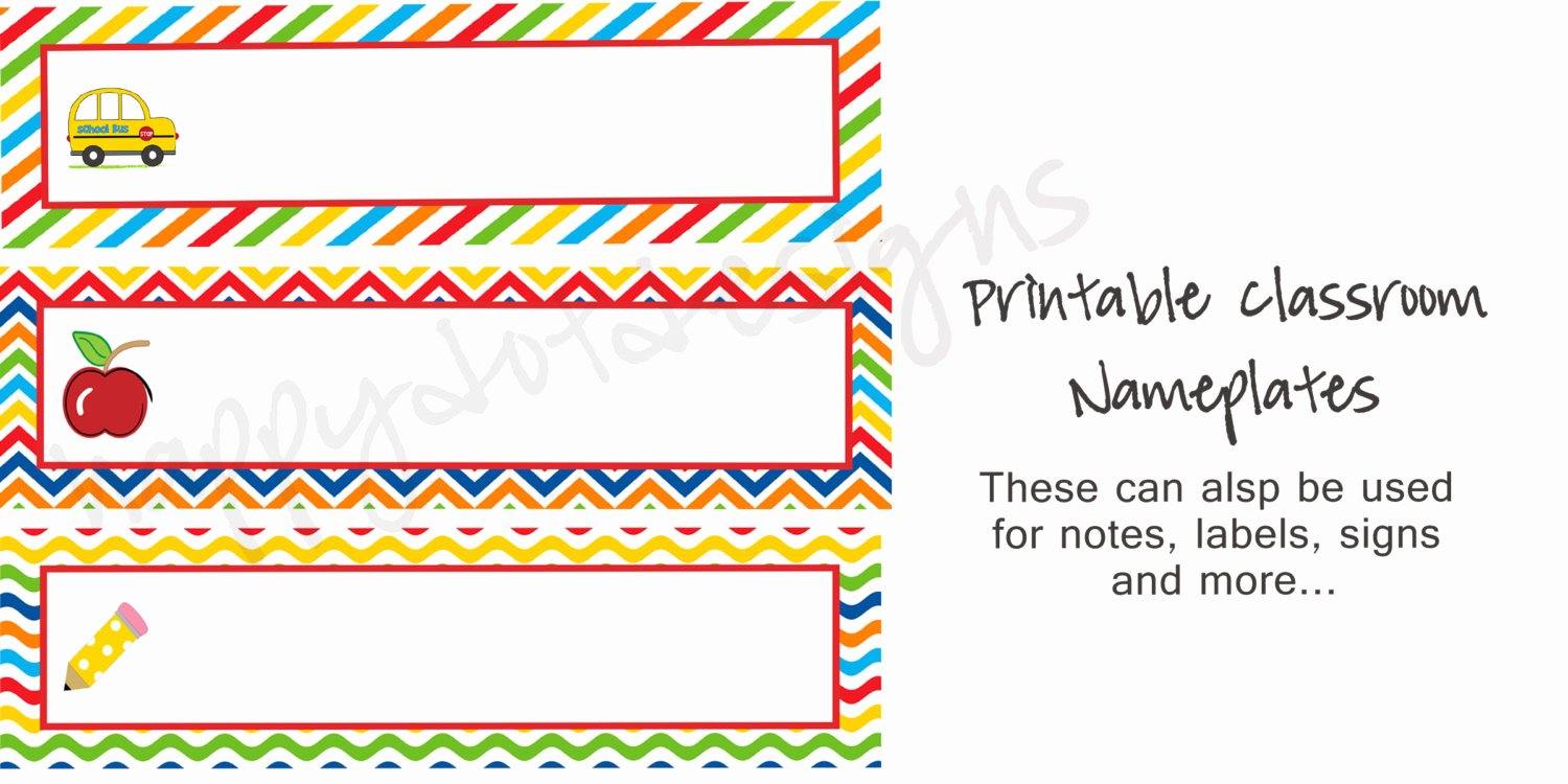 Student Desk Name Plates Templates Awesome Printable Rainbow School Desk Name Plates Name Cards for