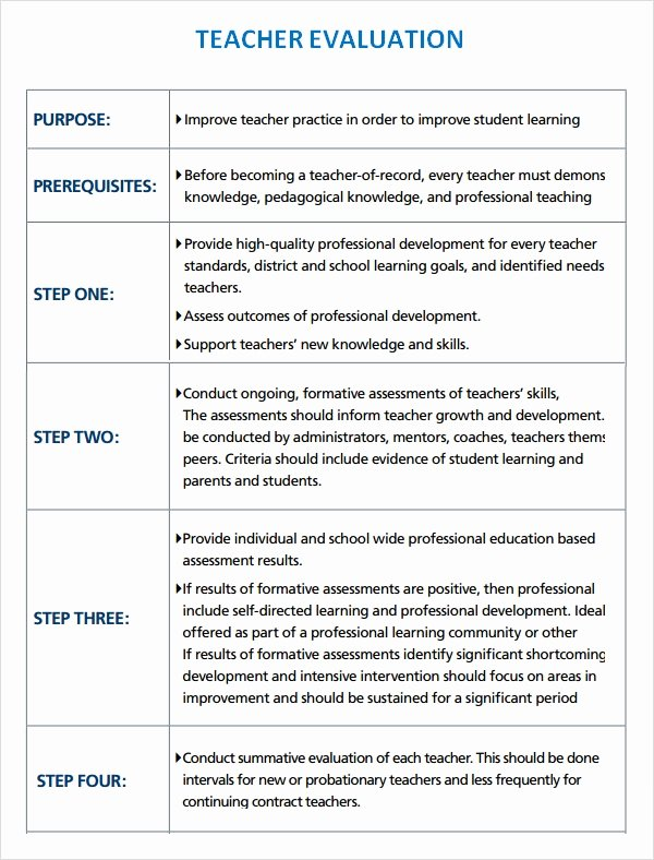 Student Performance Evaluation Examples Elegant Sample Teacher Evaluation 8 Documents In Word Pdf