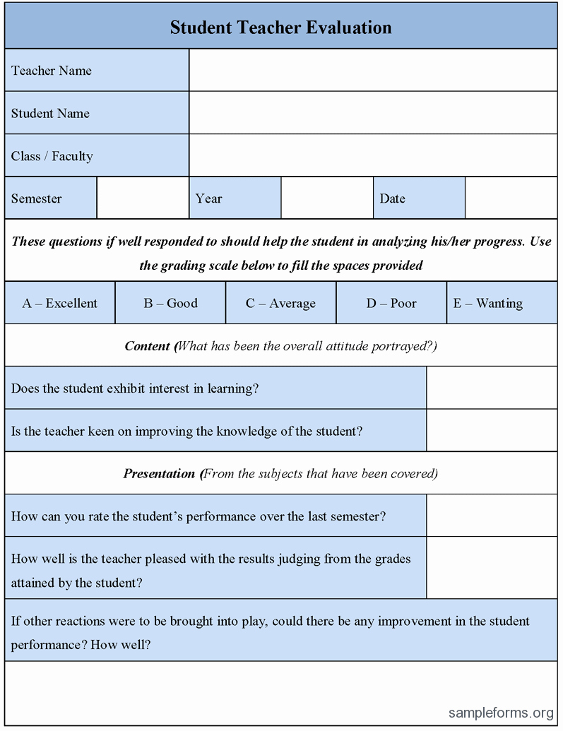 Student Performance Evaluation Examples Inspirational Student Teacher Evaluation form Sample forms