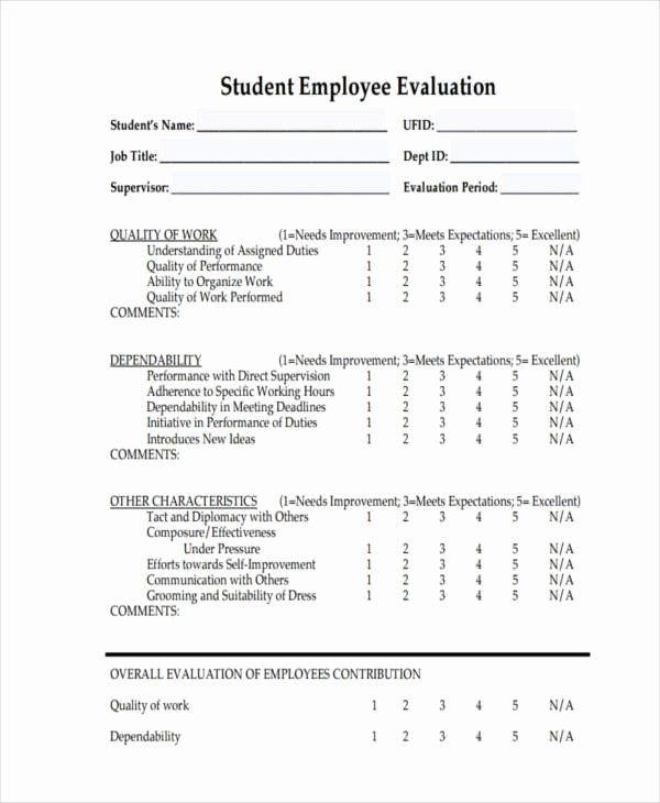 Student Performance Evaluation form Awesome Free Evaluation forms