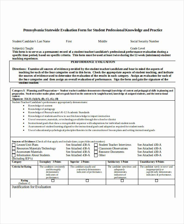Student Performance Evaluation form Lovely 27 Teacher Evaluation form Example