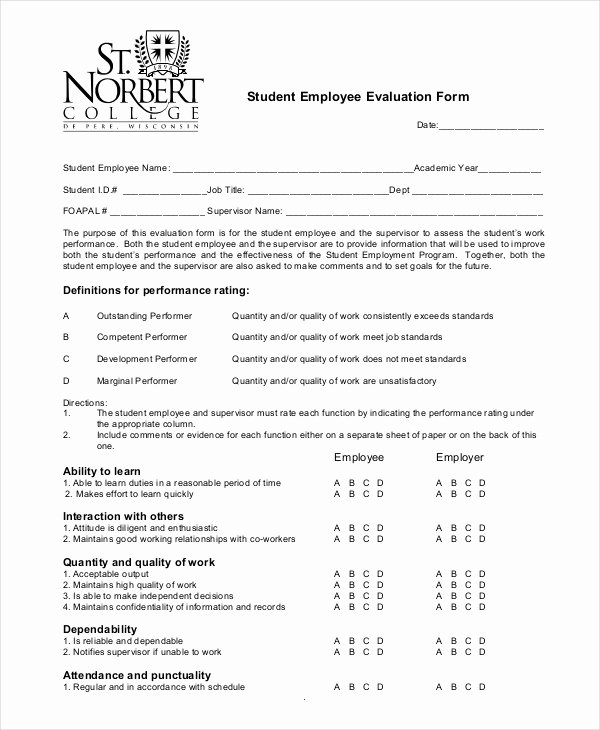 Student Performance Evaluation form Lovely Employee Evaluation form Example 13 Free Word Pdf
