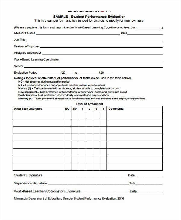 Student Performance Evaluation form Lovely Student Evaluation form In Pdf