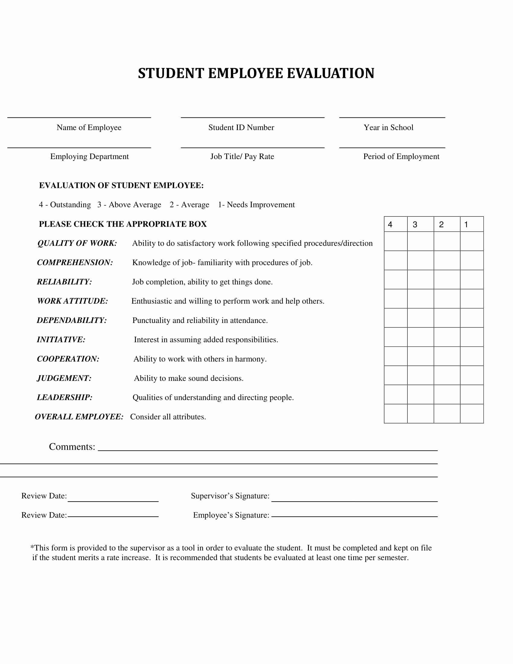 Student Performance Evaluation form Luxury 9 Employee Self Reviews forms Free Word Pdf format