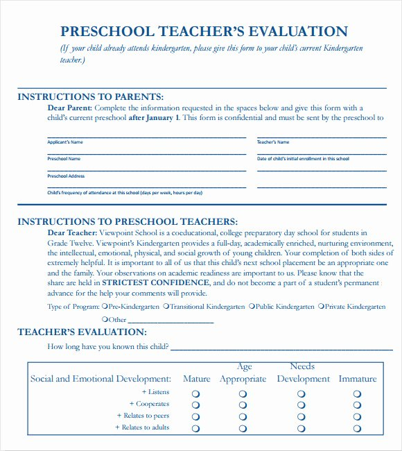 Student Performance Evaluation form New Sample Teacher Evaluation form – 6 Example format