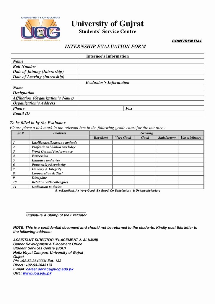 Student Performance Evaluation form New Uog Internship Evaluation form 2012