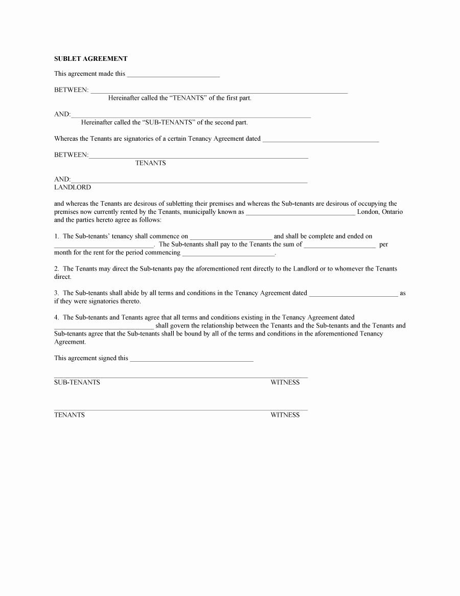 Sublease Template Free Awesome 40 Professional Sublease Agreement Templates & forms