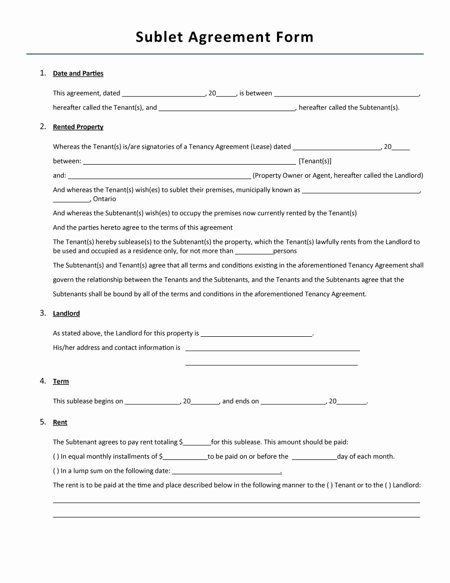 Sublease Template Free Elegant 40 Professional Sublease Agreement Templates & forms