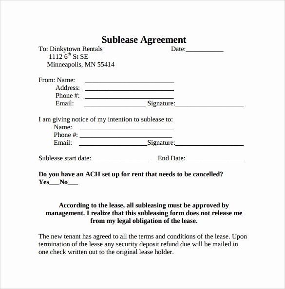 Sublease Template Free Fresh 23 Sample Free Sublease Agreement Templates to Download