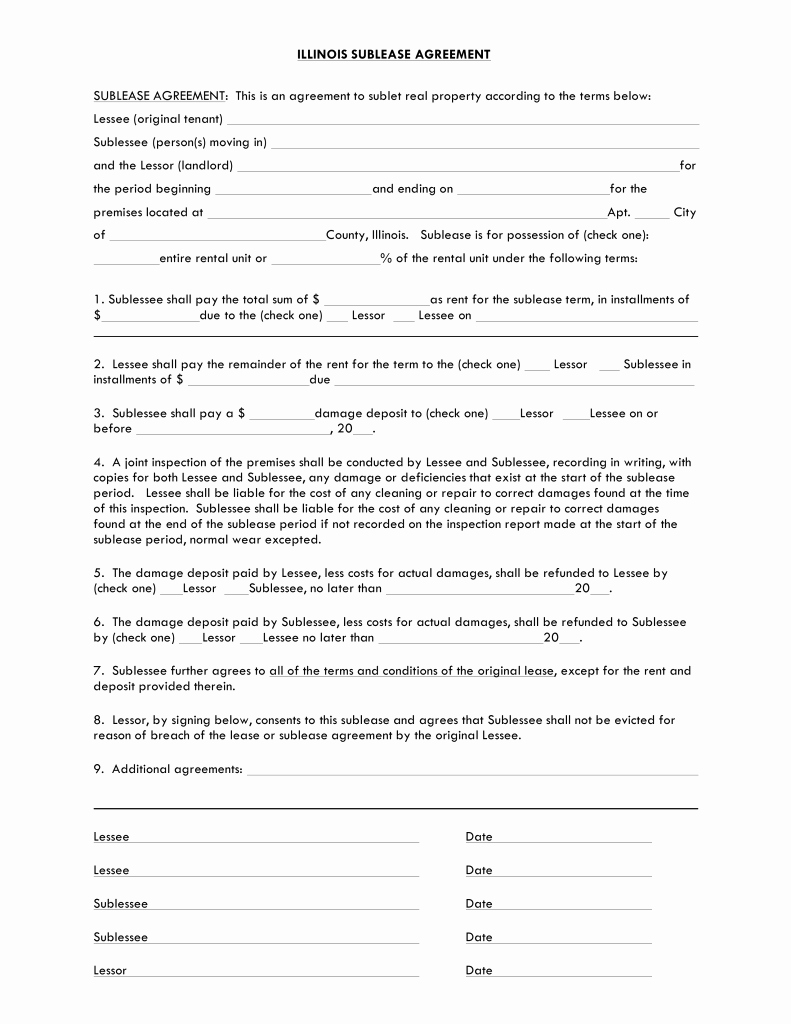 Sublease Template Free Fresh Free Illinois Sublease Agreement Template Pdf