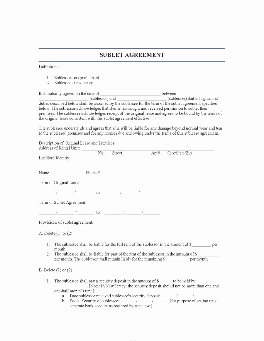 Sublease Template Free Luxury 40 Professional Sublease Agreement Templates & forms