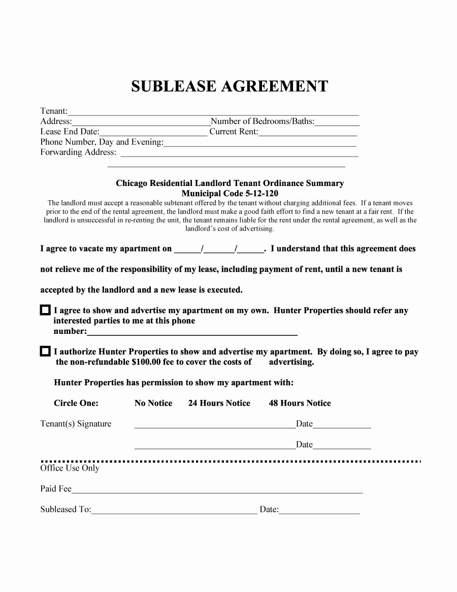 Sublease Template Free Unique 40 Professional Sublease Agreement Templates & forms