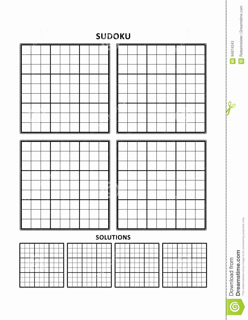 Sudoku Grid Template Awesome Sudoku Template Four Grids with solutions A4 Letter