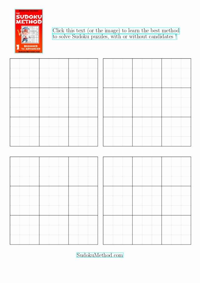 Sudoku Grid Template Luxury Sudoku Blank Grids 4 Per Page