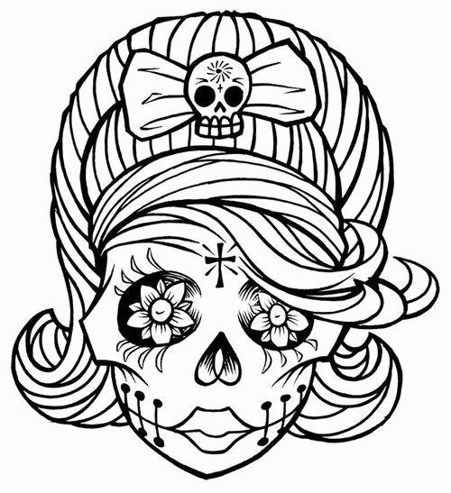 Sugar Skull Outline Elegant Candy Skull Coloring Pages