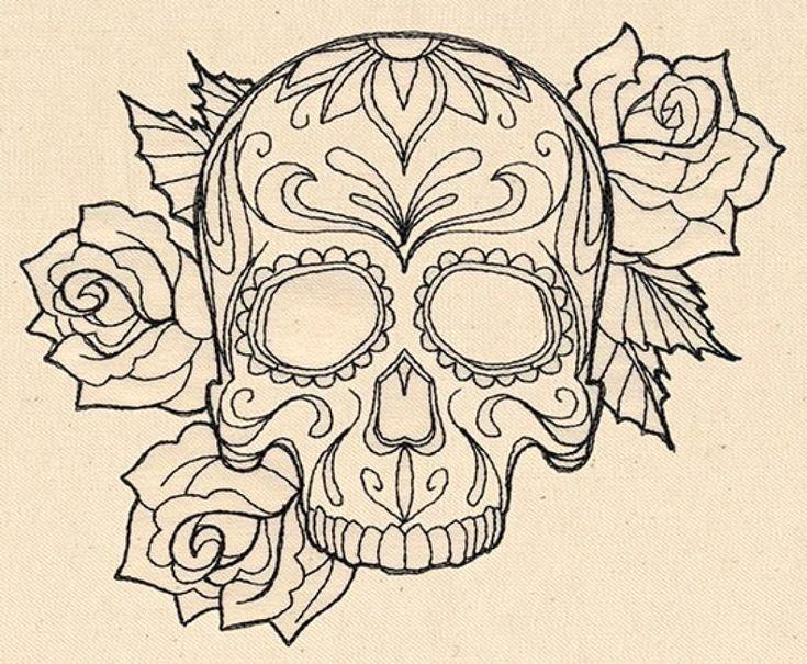 Sugar Skull Outline Fresh Black Outline Gangster Sugar Skull with Roses Tattoo
