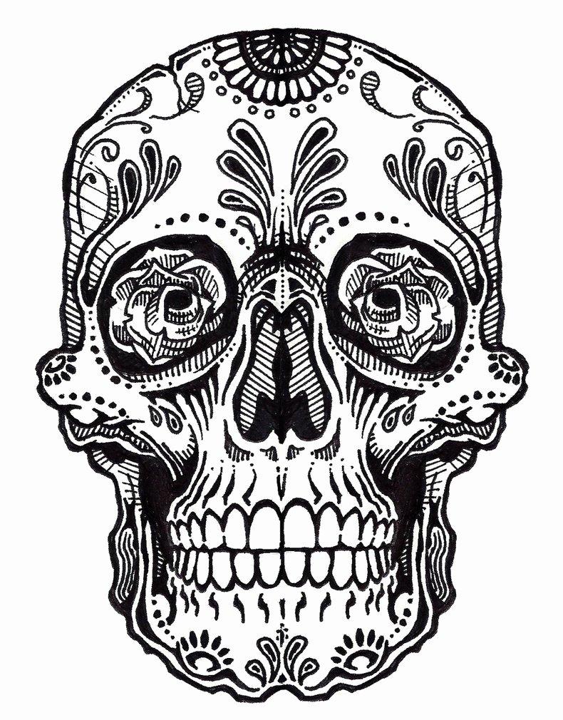 Sugar Skull Outline Lovely Sugar Skull Clipart Outline Pencil and In Color Sugar