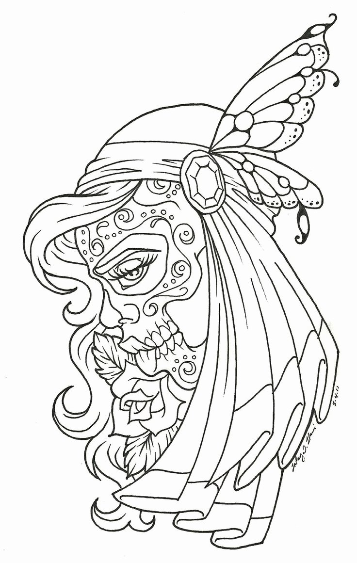 Sugar Skull Outline New Outline Bos Colorable Printable Pages