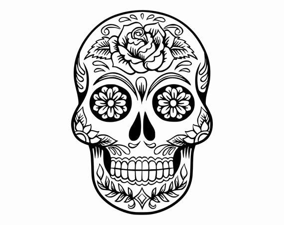 Sugar Skull Outline New Sugar Skull Svg Candy Skull Svg Dxf Sugar Skull Black&white