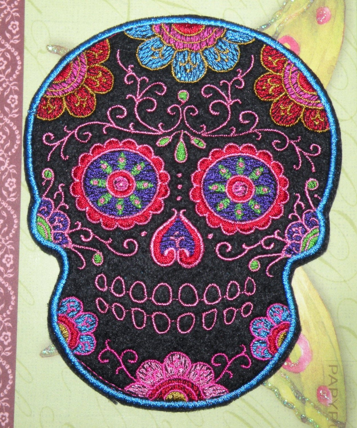 Sugar Skull Outline Unique Hot Pink Blue Outline Sugar Skull Iron Patch Day Of the