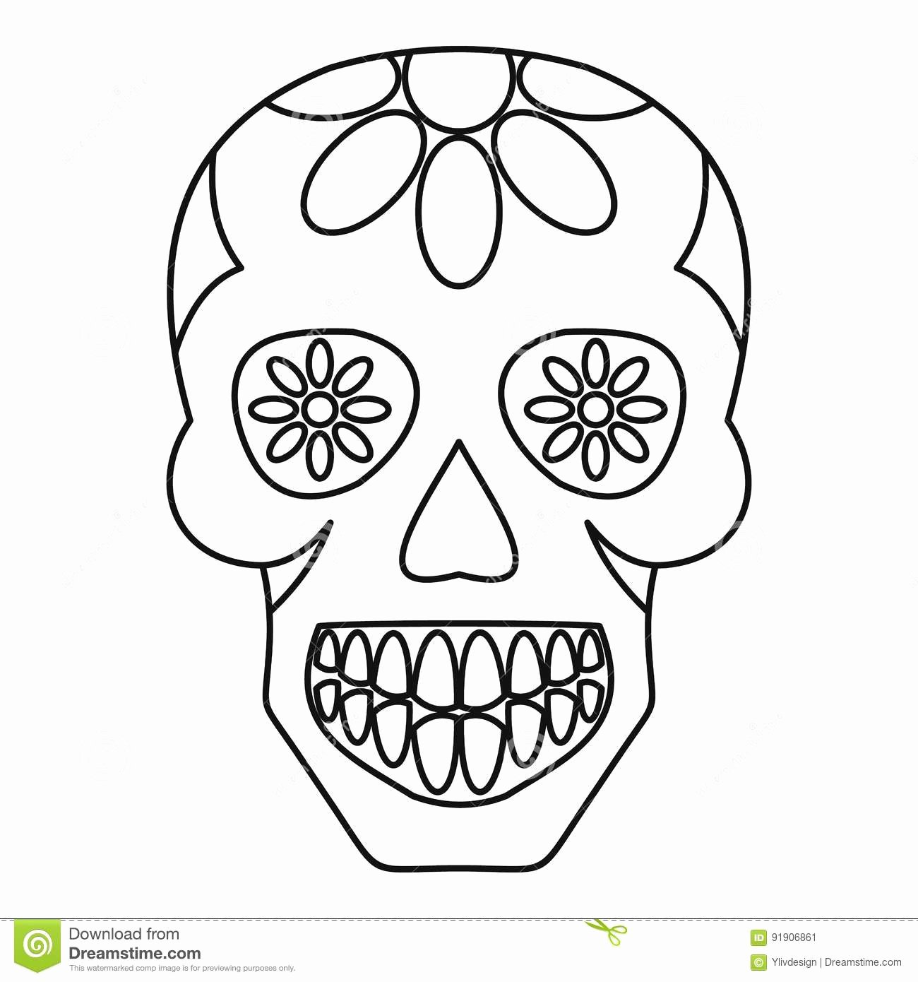 Sugar Skull Outlines Awesome Sugar Skull Flowers the Skull Icon Outline Stock