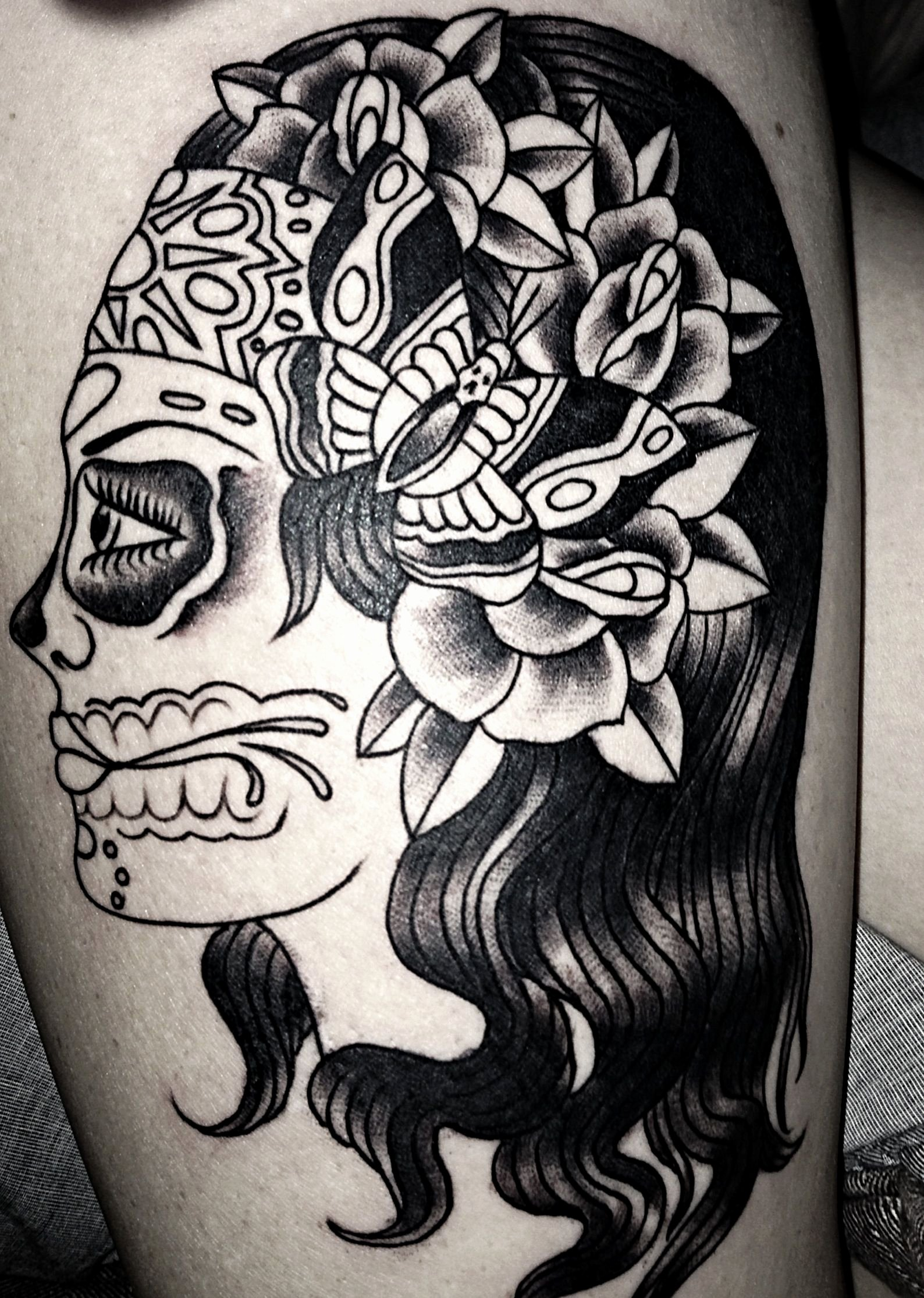 Sugar Skull Outlines Awesome Sugar Skull Tattoo Leg Tattoo Girl Tattoo Outline
