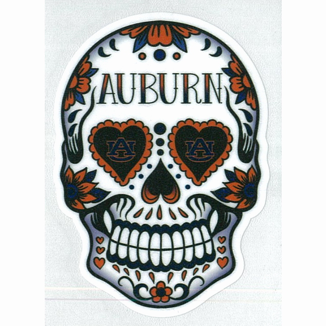 "Sugar Skull Outlines Beautiful 6"" Sugar Skull Decal with Auburn and White Outline"