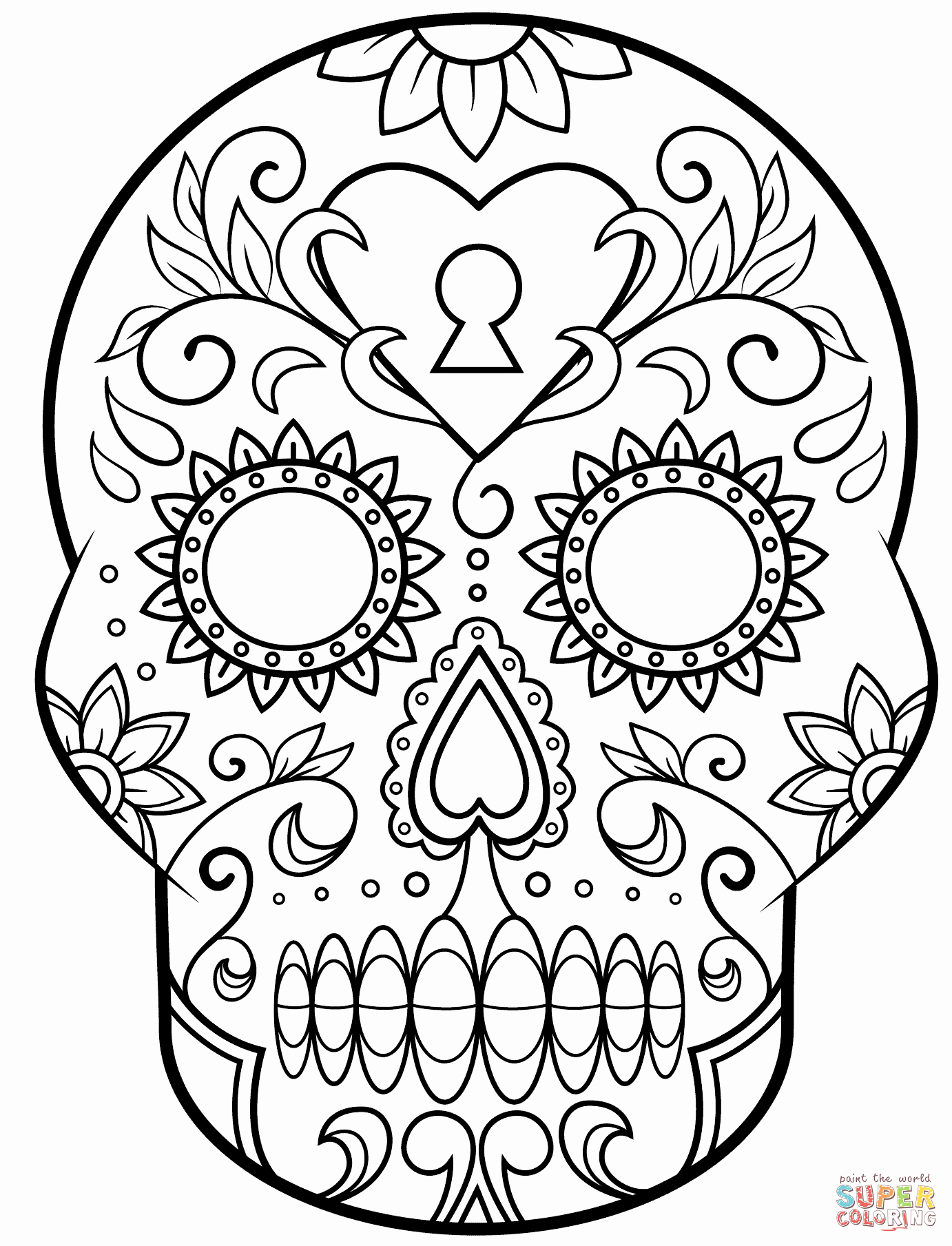Sugar Skull Outlines Best Of Day Of the Dead Sugar Skull Coloring Page