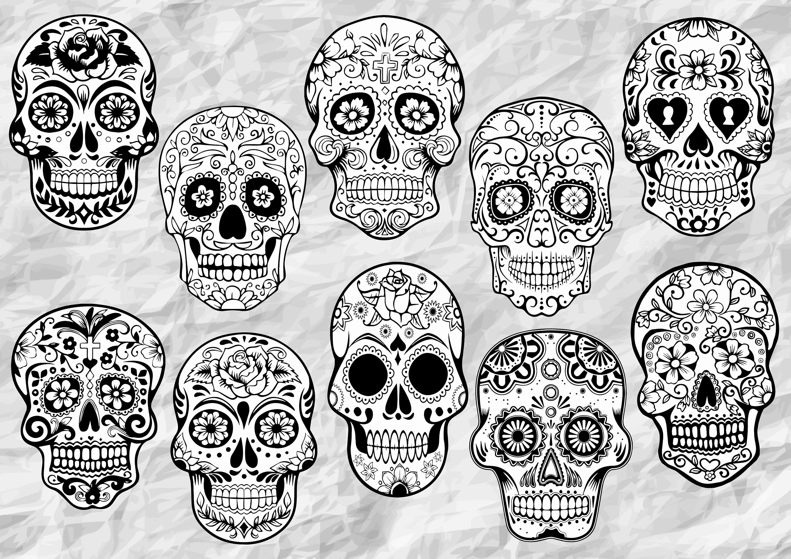 Sugar Skull Outlines Elegant 10 Sugar Skull Cliparts Sugar Skulls Svg Cut Files Sugar