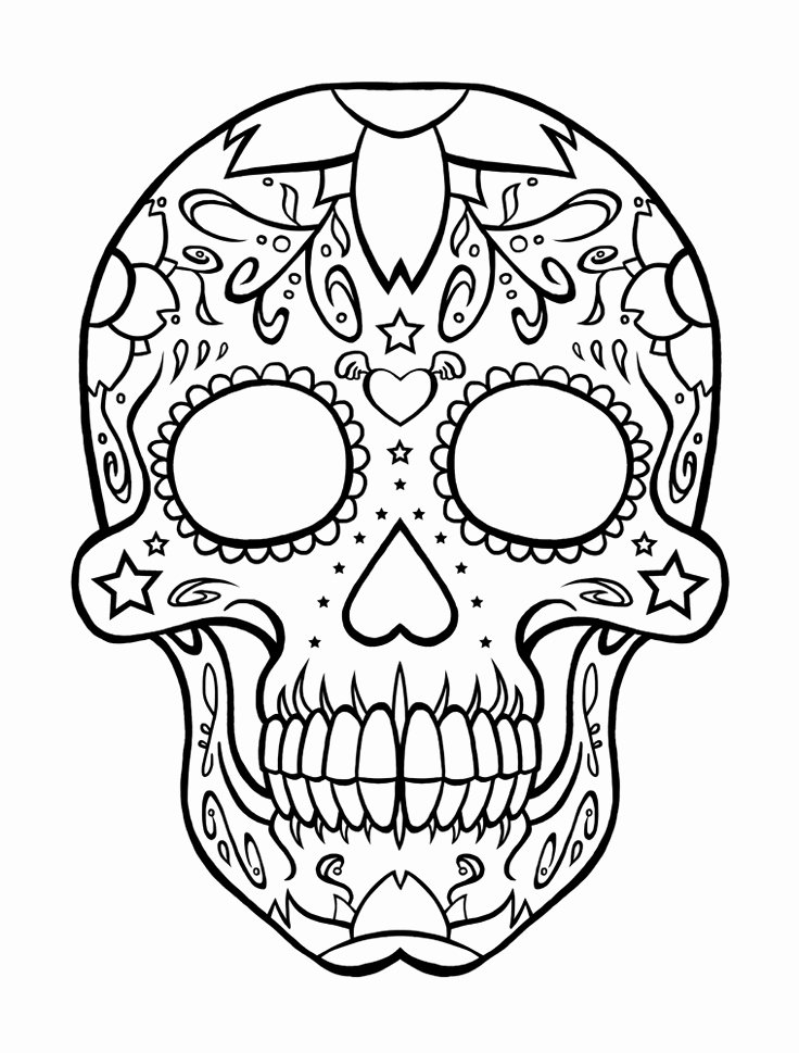 Sugar Skull Outlines Inspirational Sugar Skull Coloring Page Az Coloring Pages