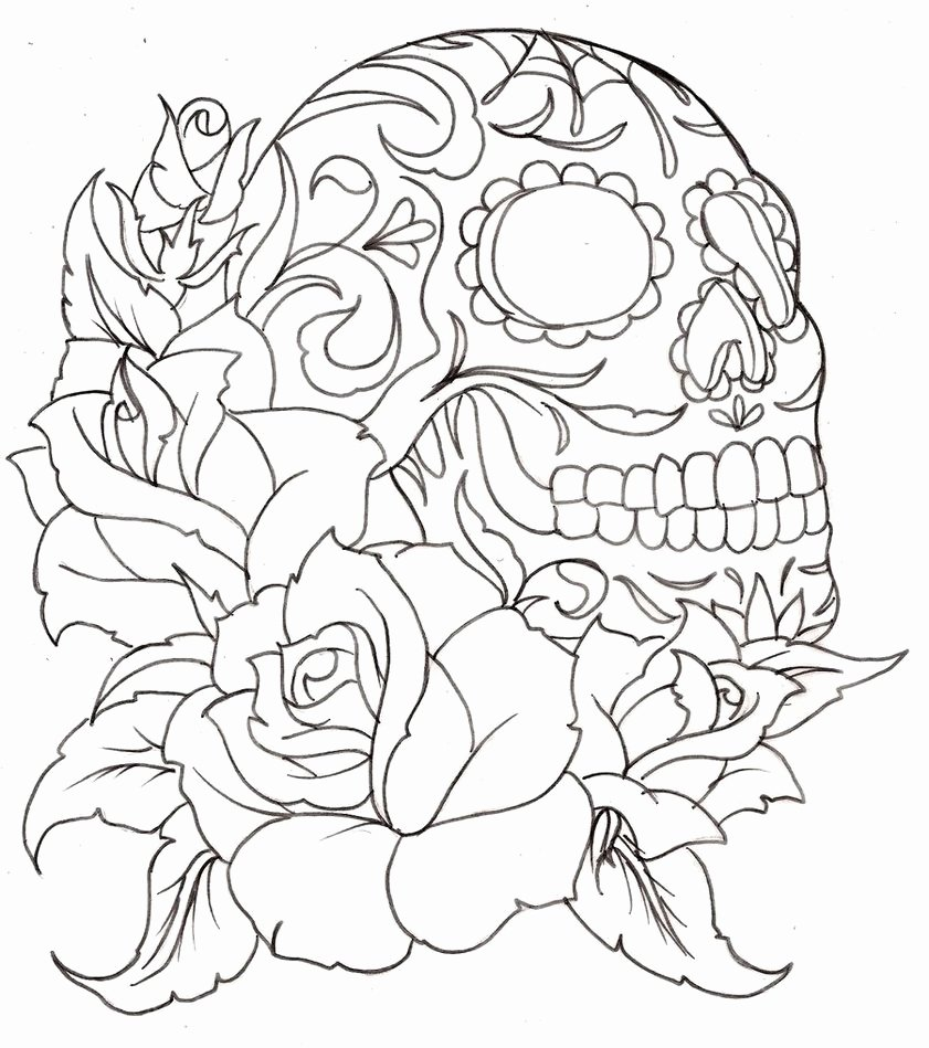 Sugar Skull Outlines Inspirational Sugar Skull Coloring Page Coloring Home