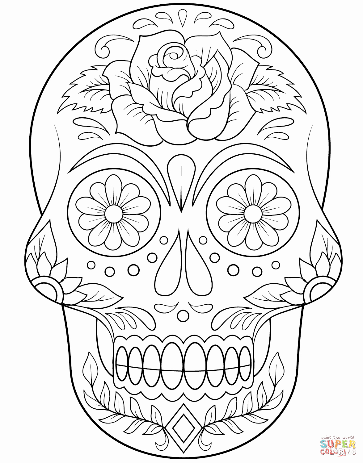 Sugar Skull Outlines Inspirational Sugar Skull with Flowers Coloring Page