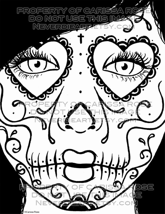 Sugar Skull Outlines Lovely Digital Download Print Your Own Coloring Book Outline Page