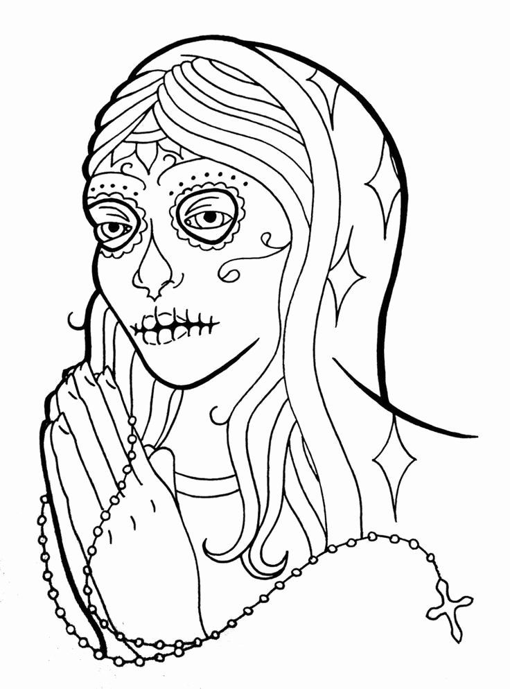 Sugar Skull Outlines Lovely Sugar Skull Coloring Pages Coloring Home