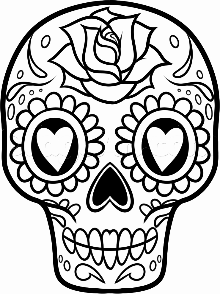 Sugar Skull Outlines Luxury How to Draw A Sugar Skull Easy Step by Step Skulls Pop
