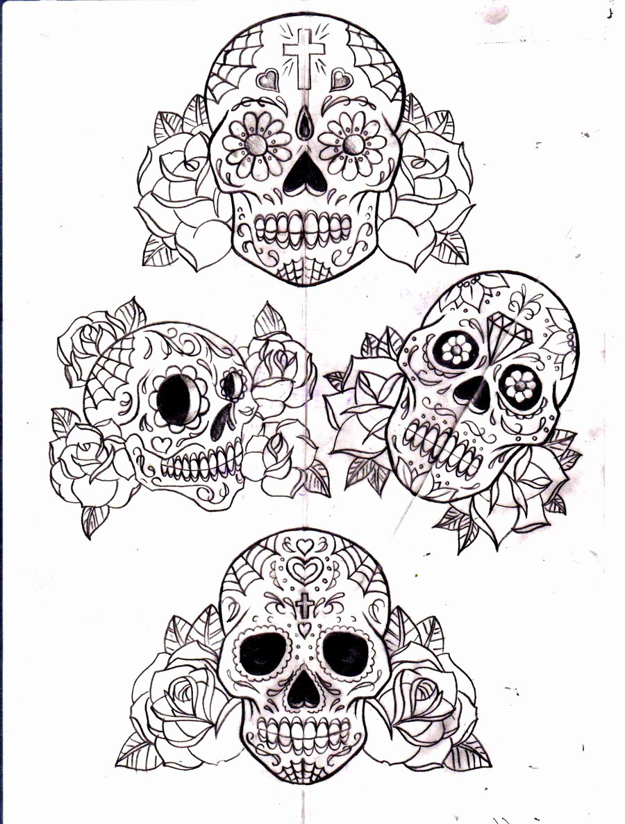 Sugar Skull Outlines Luxury Sugar Skull and Roses by Calebslabzzzgraham On Deviantart