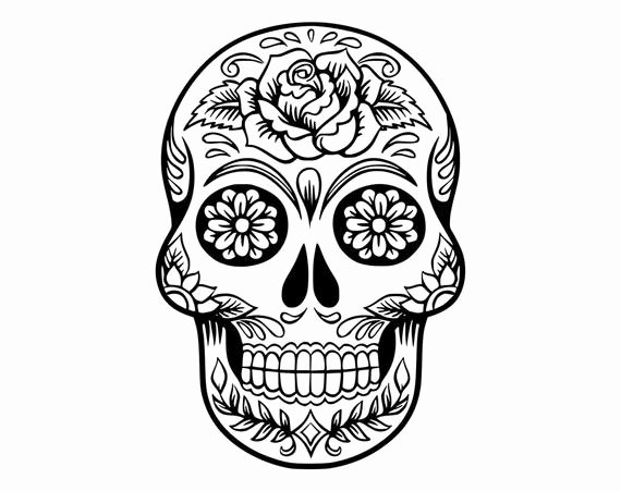 Sugar Skull Outlines Unique Sugar Skull Svg Candy Skull Svg Dxf Sugar Skull Black&white
