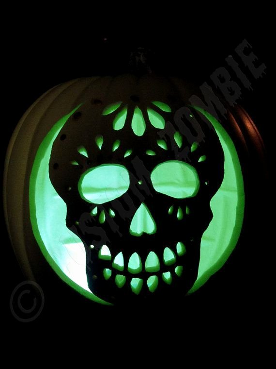 Sugar Skull Pumpkin Carving Stencils Awesome Pumpkin Stencil Sugar Skull Carving Crafts by Customzombie