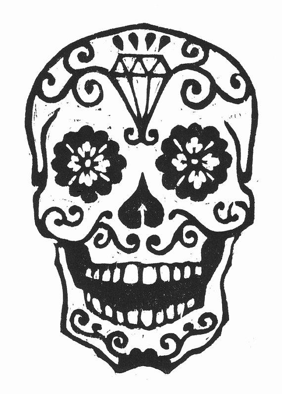 Sugar Skull Pumpkin Carving Stencils Lovely Sugar Skull Woodcut by Librarianartist On Etsy $20 00